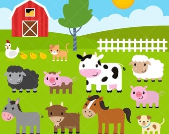 Baby Farm Animals Clip Art farm animals clipart | etsy