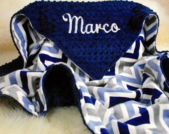 Personalized Baby Boy Blanket,  Minky Baby Blankets, Baby Gift,  Baby Blankets, Blue Denim Gray, Navy Blanket, Car Seat Blanket Crib blanket
