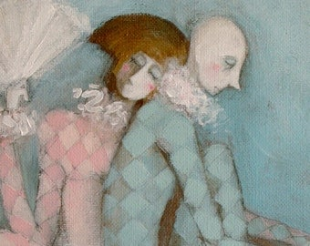 Harlequin Clowns Painting - Romantic Whimsical Couple in Love in Blue & Pink Original Wall Art Bedroom Picture Anniversary Gift