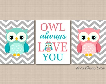 Coral Teal Nursery Wall Art,Owl Nursery Wall Art,Coral Aqua Nursery Wall Art,Coral Owl,Teal Owl,Owl Always Love You Nursery-UNFRAMED  3 C348