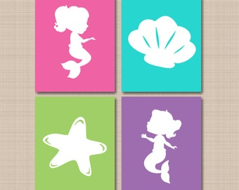 Mermaid Wall Art,Mermaid Bathroom Wall Art,Under the Sea Nursery,Mermaid Starfish Seashell Wall Art,Mermaid Nursery Decor-UNFRAMED C388