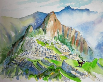 Machu Picchu, Peru, Original Watercolor Sketch