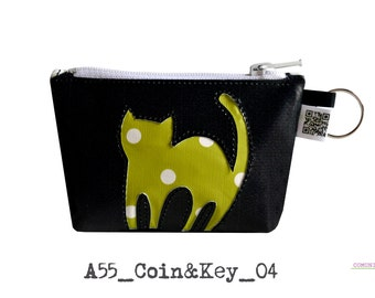 Coin & Key Happycat sport: cruelty free handmade coin purse