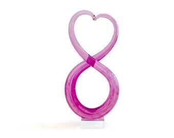 Vintage Pink Art Glass - Murano Style Art Glass Heart - Modernist Glass - Glass Sculpture - Modernist Art - Hand Formed on a Crystal Base