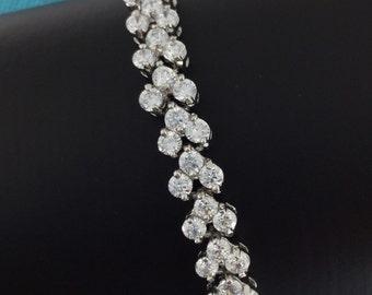 Bridal Bracelet, Wedding Jewelry, Wedding Crystal Bracelet, Bridesmaid Bracelet, Cubic Zirconia Jewelry, Cubic Zirconia Bracelet