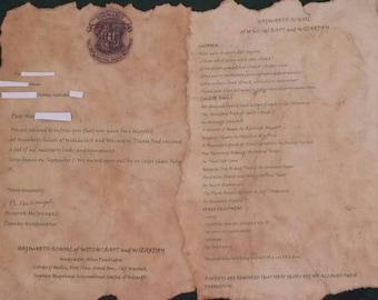 Hogwarts acceptance letter pack (Harry Potter)