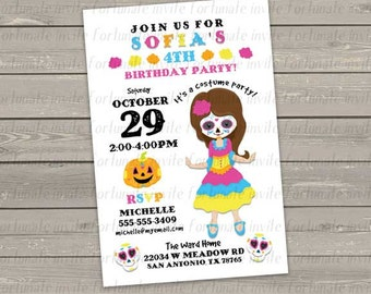 halloween birthday invitation, printable kids birthday costume party invitation, girl day of the dead invitation