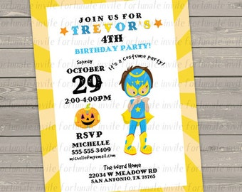 halloween birthday invitation, printable kids birthday costume party invitation, boy luchador invitation wrestler