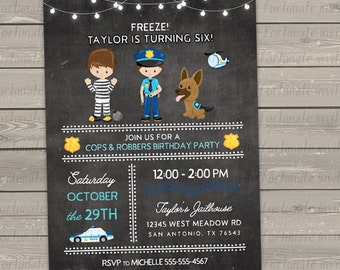 police birthday invitations printable, cops and robbers party invites, police man dog criminal digital chalkboard invitations