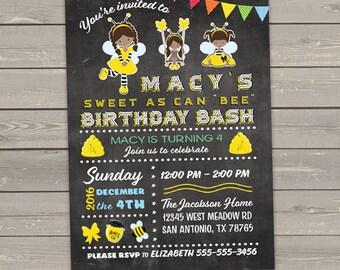 bee birthday invitations girl african american, yellow black honey bees, printable kids birthday party invites digital or printed invites