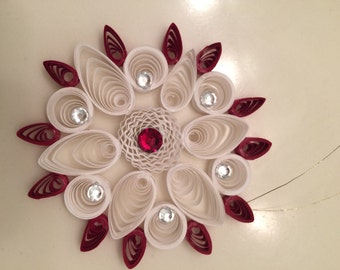 Red and White Quilled Snowflake