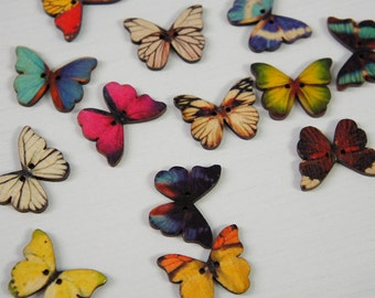 Realistic Butterfly Motif Wood Buttons with Sewing Holes - Multicolor Random 21 x 27mm - Country Fairy Tales Knit Scrapbooking Craft