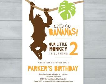 Monkey Birthday Party Invitation     Monkey Invite    Monkey Birthday Invitation     Let's Go Bananas Birthday Invitation