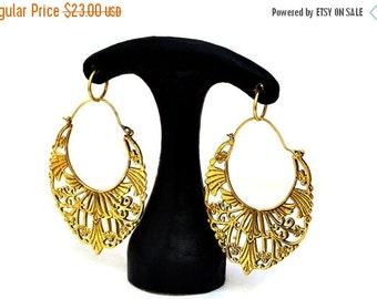 ON SALE Gypsy Hoop Earrings, Brass Hoop Earrings, Boho Earrings, Large Tribal Earrings, Gold Filigree Earrings, Brass Hoops, Gypsy Jewelry