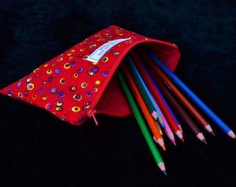 Red 'Ellis' Pencil Case - small, pencil case, fabric, handmade, lined pencil case