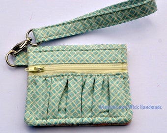Blue 'Maybole' wallet, women's wallet, small wallet, handmade, fabric wallet