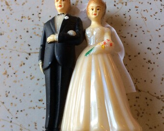 Authentic 1920s bride &groom cake topper, small, unique, vintage, scrapbooking, anniversary