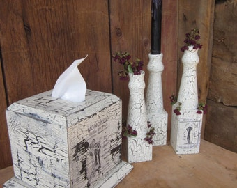 Tissue Box and Candle/Dried Flower Vases