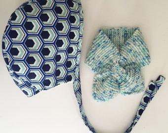 Honeycomb bonnet and petit cravat
