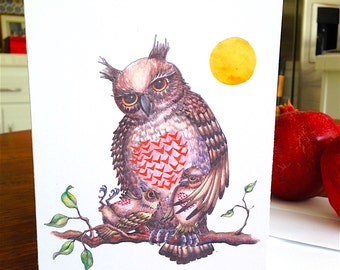 Mother Owl and Her Babies - Valentine Owl - Hearts - Valentine's Day Card - Owls - Treebranch - Handmade Card - Watercolor - Love