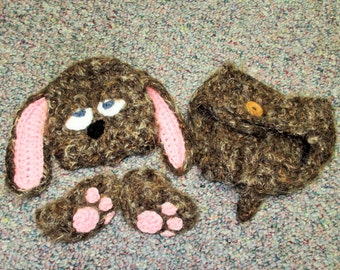 Sleepy Puppy Crochet Beanie and Diaper Cover Set