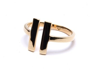 Double Bar Ring. Simple Ring. Midi Ring. Upper Finger Ring. Gold Ring. Silver Ring. Delicate Ring.