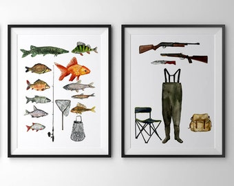 Fishing prints-set of 2 prints (8x10).Fishing art.Lake house art.Fishing wall decor.Lake house wall art.Lake house prints.Fishing art prints