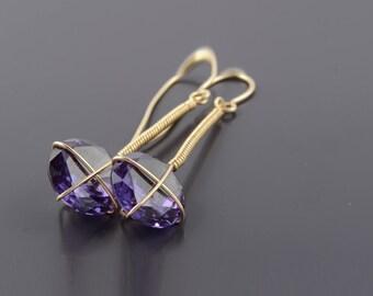 Alexandite Earrings, June Birthstone Earrings, Purple Dangle Earrings, Purple Gemstone Earrings, June Jewelry