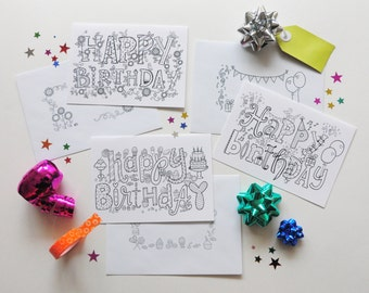 Happy Birthday Coloring Cards with Envelopes- 3 pack