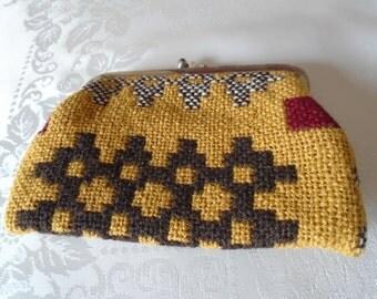 vintage wool purse mustard and brown