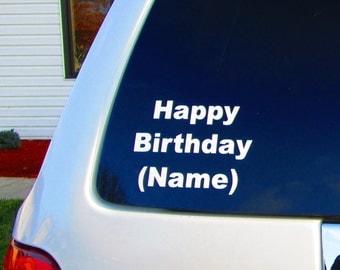 Personlized Happy Birthday Window Decal