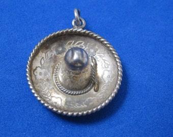 Vintage .925 Sterling Silver Latin Sombrero Hat Custom Pendant MC27
