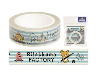 San-x Rilakkuma Masking Tape - Blue Stripe