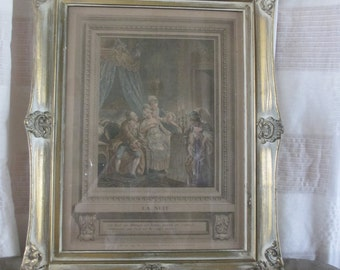 French boudoir print La Nuit Wedding Niht Patas engraving risque colored rococo framed chic elegant