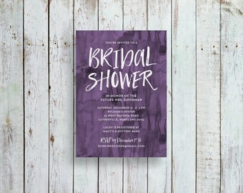 watercolor bridal shower invitations // purple watercolor party invite // purple watercolor // printable // digital files // custom