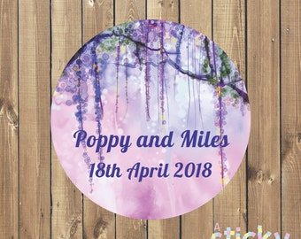 Personalized Wedding Stickers, Wedding Labels, Wedding Tags, Wedding Favor Stickers, Christening Stickers, Custom Stickers, Floral Stickers