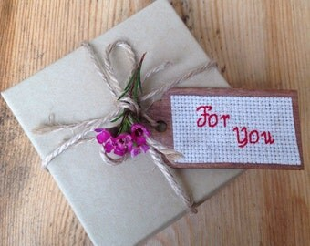 Gift Tag, Wooden gift tag, Cross stitch