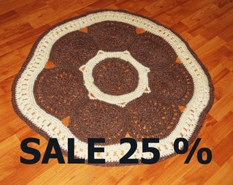 SALE 25 % Round rug, сarpet knitted, handmade, crocheted rug, floor mat, napkin on the floor, knitted cloth on the floor, delicate carpet.