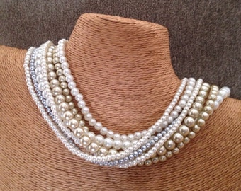 Chunky pearl necklace, pearl multistrand, ivory pearl necklace, champagne bridesmaids, pearl necklace, statement necklace, ivory pearl neckl