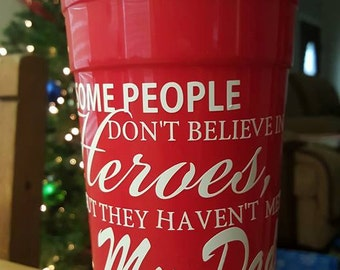 Father's Day Gift/Personalized Red 32oz Solo Cup/Insulated & Reusable, Customized Cup/Hero Cup