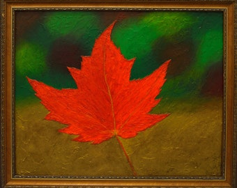 "Maple Leaf - Original Acrylic Painting 20"" x 16"""