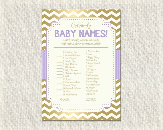 Celebrity Baby Names Baby Shower Quiz Purple Baby Shower Games
