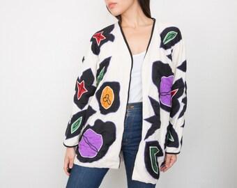 Vintage Victor Camarena Patchwork Coat/ 1980s Mexican Textile Coat / Artist jacket