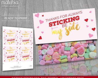 Valentines Treat Bag Toppers Sticking By My Side - INSTANT DOWNLOAD - Printable Treat Bags Valentines Favors Valentines Treat Bags Digital