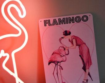 FLAMINGO LOVE tin SIGN! fun pink retro art Caravan camper trailer deco flapper girl 30cmx20cm glamper kitsch glamping