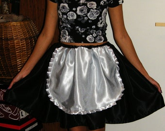 satin black governess skirt with white apron