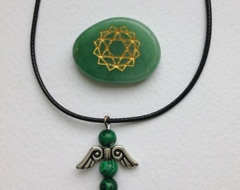 Waxed cord necklace with Angel pendant