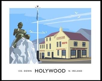 Holywood - vintage style railway travel poster art of Ireland