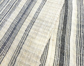 Chinese Hemp/Linen Fabric, Dong Hill Tribe, Wide, Sophisticated Flax color with Black or Indigo Stripes, 78 inches Long x 23 inches wide