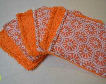 Lot of 6 washable wipes square orange